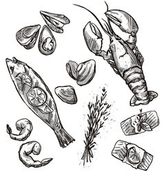 Seafood selection vector