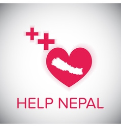 Help nepal heart and plus red symbol on white vector