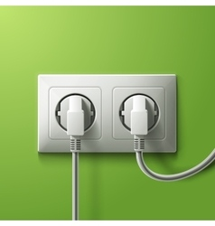Realistic electric white double socket and 2 plugs vector