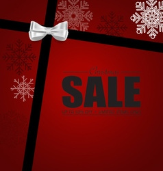 End of year sale gift coupon with gift bow and vector