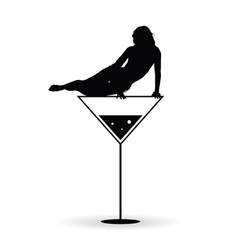Girl on martini black silhouette vector
