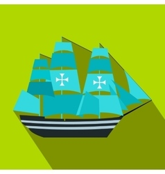 Columbus ship flat icon vector