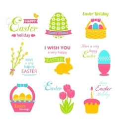 Easter set - rabbit basket eggs ribbon pussy vector