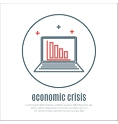 Icon on a theme of economic crisis with notebook vector