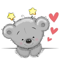 Teddy bear with hearts vector