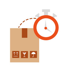 Box carton with chronometer watch isolated icon vector