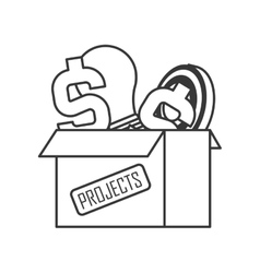 Box with projects icon vector