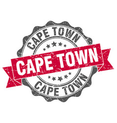Cape town round ribbon seal vector