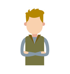 Character man male cross arms and wear vest vector