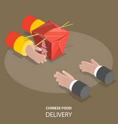 chinese food fast delivery flat isometric low poly vector image vector image