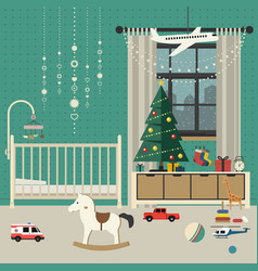 Christmas baby room interior vector