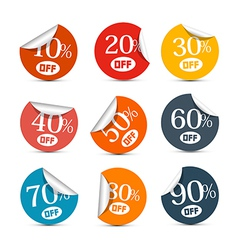 Colorful Discount Stickers Labels Set vector image