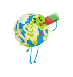 Drunk cartoon earth planet character drinking wine vector