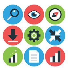 Flat styled circular business icons vector