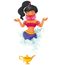 Genie coming out of lantern vector image vector image