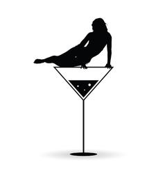 girl on martini black silhouette vector image vector image