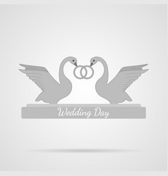 gray wedding swans flat icon vector image