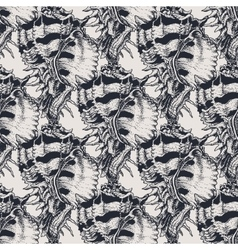 Hand drawn vintage exotic shell abstract pattern vector