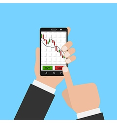 Hand holding smartphone with forex stock chart vector image vector image