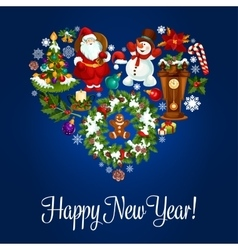 Happy New Year greeting poster in heart shape vector image