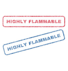 Highly flammable textile stamps vector