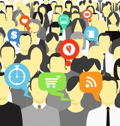 hinking people in a crowd vector image