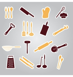 Home kitchen cooking utensils stickers eps10 vector