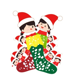 Kids huddled toghether inside a christmas stocking vector