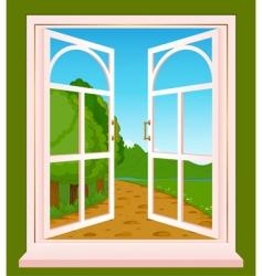 Landscape through window vector