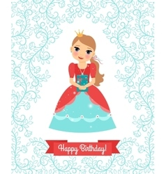 Little princess happy birthday card vector