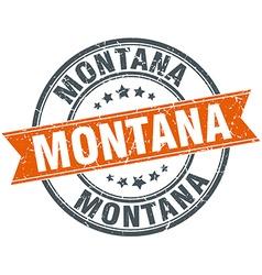 Montana red round grunge vintage ribbon stamp vector