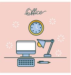 office computer desk lamp clock and pen work image vector image