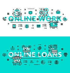 Online works and online loans heading title web vector