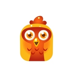 Orange Chicken Chick Square Icon vector image vector image