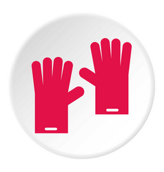 Pink gloves for cleaning icon circle vector