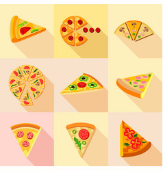 Pizza icons set flat style vector