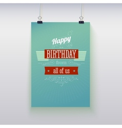 Poster hanging with birthday greetings vector image vector image