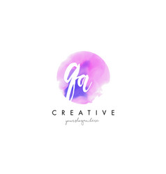 Qa watercolor letter logo design with purple vector