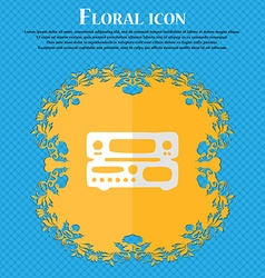 Radio receiver amplifier floral flat design on a vector