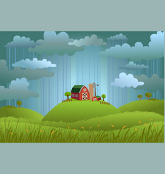 rainy day in the village vector image