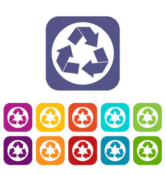 Recycle sign icons set vector
