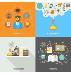 Science and research flat vector