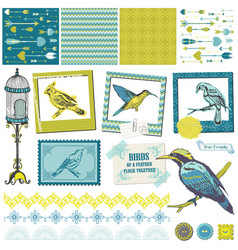 Scrapbook Design Elements - Vintage Birds Set vector image