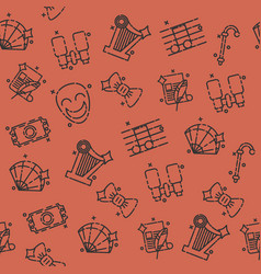 Theater flat icons pattern vector
