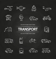 transport line icons collection on blackboard vector image vector image
