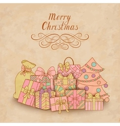 Vintage christmas card with gift boxes vector