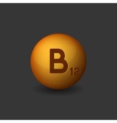 Vitamin b12 orange glossy sphere icon on dark vector