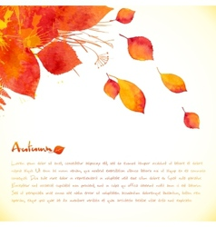 Watercolor painted autumn leaves background vector image