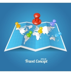 World map with color geo location pins vector