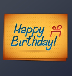 Happy Birthday Yellow Card vector image